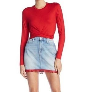 Good American Red Pom Pom Red Jean Skirt 12 & 14